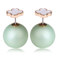 Mise en Dior Style Tribal v.s Van Cleef Earrings - White & Matte Green