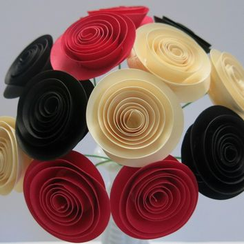"Black, Red and Ivory paper flowers 1.5"" blooms most popular wedding centerpiece, Best selling party supply, Bridal shower decoration"