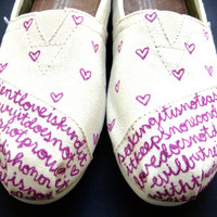 The Elsie  Fuscia and Cream Custom TOMS by FruitfulFeet on Etsy