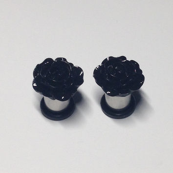 15mm Black Rose Plugs 2g-00g
