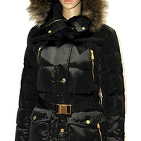 women's Faux Fur Belted Down Coat winter jacket BLACK PUFFER