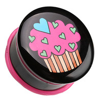 Heartful Cupcake Single Flared Ear Gauge Plug