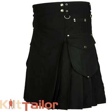 Black Cargo Utility Kilt For Men's Custom Made