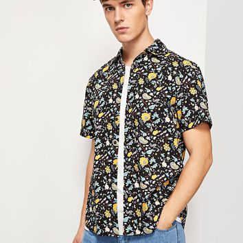 Men Calico Print Curved Hem Shirt