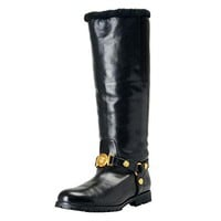 Versace Women's Black Leather Fur Knee Length Winter Boots Shoes SZ US 11 IT 41