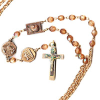Pope Paul II Devotional Necklace 2 Decade Chaplet with Italian Medals and Crucifix and Antique Beads