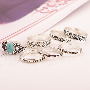 Retro Ethnic Multi Style Ring Set For Women