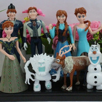 2014 New Frozen PVC Action Figures Anna Elsa Hans Kristoff Sven Olaf Toys Classic Toys 8pcs/set Animal Princess Doll Kids Gift