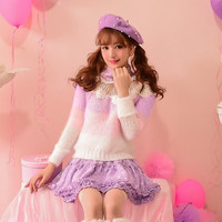Princess sweet lolita sweater Candy rain Autumn winter hollow out yarn Ice cream patchwork flowers High collar sweater C16CD5908