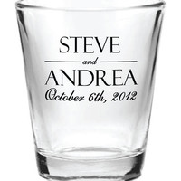 192 Personalized Wedding Favor 1.5oz Shot Glasses Custom Wedding Favors