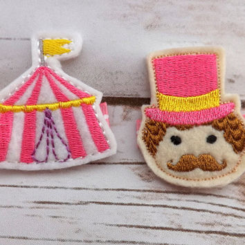 Circus hair clips set, ring master felt clip, pink girls hair clip set, summer hair accessory, embroidered hair clip, UK seller