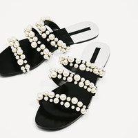 PEARLY STRAPPY SANDALS