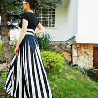 Black and White Long Stripes Skirt / Maxi Skirt /  Party Summer Skirt / Evening Cotton Skirt by moShic S002