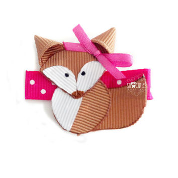 Mrs. Fox ribbon sculpture hair clip, baby hair clip, girl hair clip. Free ship PROMO w 25 usd or more