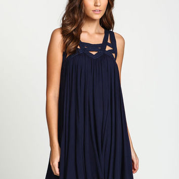 NAVY STRAPPY CAGED GAUZE DRESS