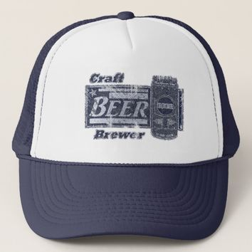 Craft Beer Brewer - Blue & White Can Worn Look Trucker Hat