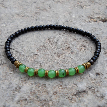 strength and balance, Ebony and aventurine mala bracelet with African trade beads
