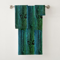 Woodgrain Art Panel Bath Towel Set