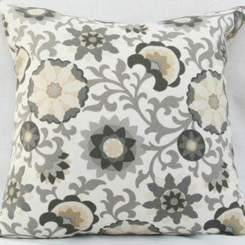 "Gray & white suzani pilow cover. Waverly Pinwheel Parade charcoal decorative pillow cover. 18"" x 18"" pillow."