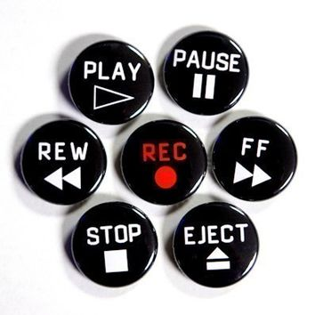 Cassette Deck VCR Buttons Set of 7 Pinbacks Badges 1 inch