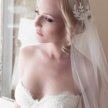 Embellished Lace Elbow Length Juliet Cap Wedding Veil with Bridal Illusion Tulle & Unfinished Edge
