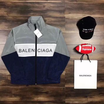 One-nice? ¡®¡¯BALENCIAGA¡®¡¯ Women Men Fashion Zipper Cardigan Sweatshirt Jacket Coat Wind