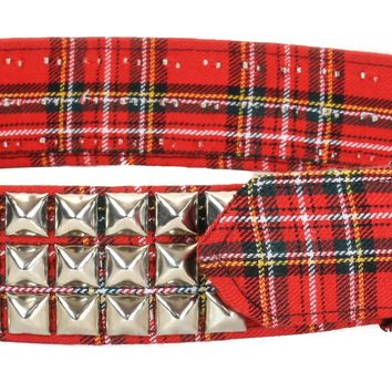 "Red & Black Plaid 3-Row Silver Pyramid Stud Belt 1-3/4"" Wide"