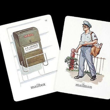 Mailbox Mailman Flash Card Vintage Alphabet Illustrated ABC Picture Word Flash Card Scrapbook Retro Ephemera Collage Art Mixed Media Crafts