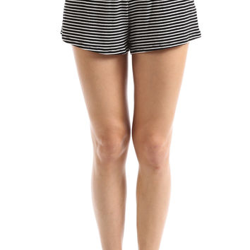 STRIPED RUNNER SHORTS - BLACK