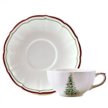 Gien Filet Noel Breakfast Cup and Saucer-Set of 2