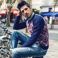 New autumn plaid winter sweater men fashion pullovers  65.2% wool warm knitted casual clothing