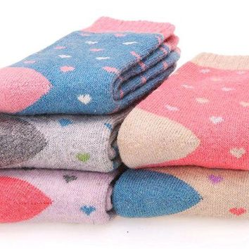 DCCK2JE EBMORE Women Cute Fashion Thick Casual Soft Warm Crew Winter Wool Socks 5-Pack