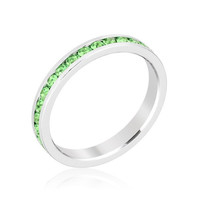 Stack Me Peridot - Rhodium Plated Brass Ring With Round Cut Peridot Colored Swarovski Crystals