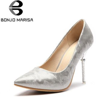 BONJOMARISA Women's Thin High Heels Pointed Toe Synthetic Upper Shoes Woman Party Wedding Less Platform Pumps Big Size 33-48