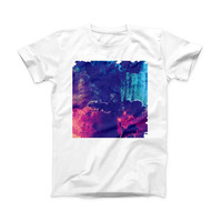 The Blue & Purple Grunge ink-Fuzed Front Spot Graphic Unisex Soft-Fitted Tee Shirt