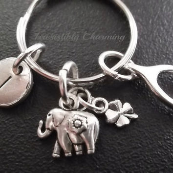 Elephant, lucky charm, wishbone, protection keychain, bag charm, purse charm, monogram personalized item No.405