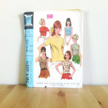 McCall's 9458 Junior Blouse in Six Versions With or Without Sleeves {1960s} Vintage Sewing Pattern
