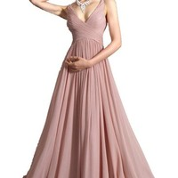 Women's V-neck Bridesmaid Chiffon Prom Dresses Long Evening Gown Flesh Color