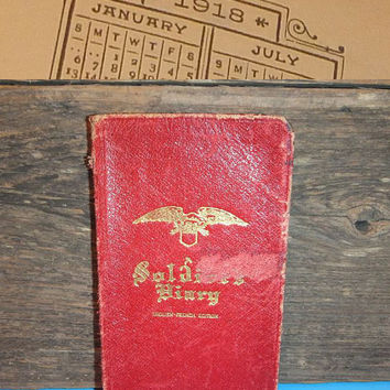 Antique WWI Soldier's Diary / English French Edition / Europe War Zone Map / 1900s Calendar / First Aid
