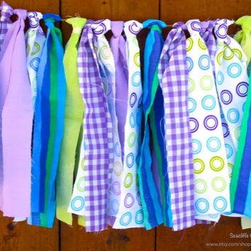 Aqua Purple Lime Green Rag Tie Garland Monsters Inc Inspired Photo Prop Cake Smash First Birthday Party Decor Turquoise Baby Shower Newborn