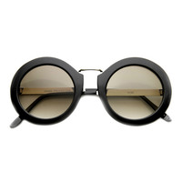 Women's Retro Round Oversize Sunglasses With Metal Accents 9609
