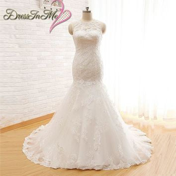 Illusion O Neck Sleeveless Alencon Lace Mermaid Wedding Dress with Keyhole Back Pearl Wedding Dresses Real Photos