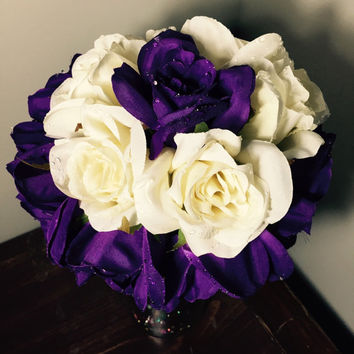 15 Purple and White Silk Rose Flowers w/Raindrops-Floral Arrangement-Center Piece-LED Battery Operated-Confetti Glass Bead Mix-Wine Bottle