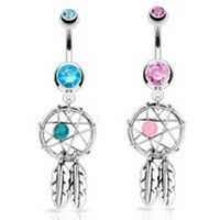 2pcs Dream Catcher Woven Star Design-Bead & Feathers Fancy Navel Ring 14G Aqua & Pink