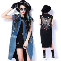 [TWOTWINSTYLE] 2016 autumn vintage embroidered jean denim jacket long vest women sleeveless coat new clothing