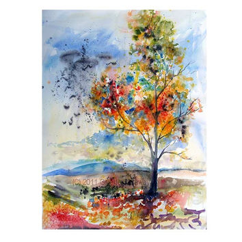 Expressive Autumn Tree with Birds Flying Away ORIGINAL Watercolor