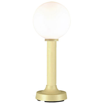 """Moonlite 35"""" Outdoor Table Lamp with Bisque Tube Body & White Globe"""
