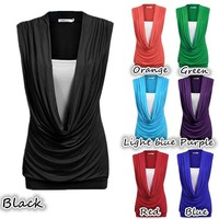 Plus Size Women Fashion Sexy Deep V-neck Sleeveless Pure Color Slim Fit Cotton False Two Pieces Casual Tank Top WZK5454