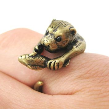 Otter Beaver Holding a Fish Shaped Animal Wrap Around Ring in Brass   US Sizes 4 to 9