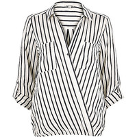 White stripe wrap front collar blouse